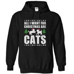All I Want For Christmas Are Cats T Shirts, Hoodies. Get it here ==► https://www.sunfrog.com/Christmas/All-I-Want-For-Christmas-Are-Cats-Black-Hoodie.html?41382