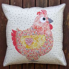 Claire Turpin Chooks 2 Cushion pattern Mrs Chook and Mr Chook Cushion The pattern includes instructions for applique to make these adorable Chooks. the finished size is square. Applique Cushions, Sewing Pillows, Applique Quilts, Pin Cushions, Patchwork Pillow, Quilted Pillow, Sewing Appliques, Applique Patterns, Design Textile