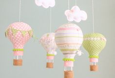 Nursery Mobile Pink and Green Hot Air Balloon