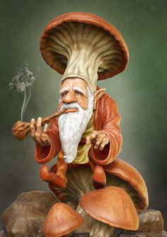 Sculpted and modeled in Zbrush Composite in PS Smoking Gnome Forest Creatures, Woodland Creatures, Magical Creatures, Duende Real, Kobold, Elves And Fairies, Mushroom Art, Fairytale Art, Fairy Art