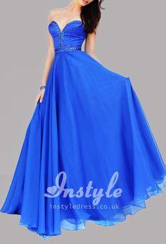 royal blue strapless sweetheart a-line floor length evening dress