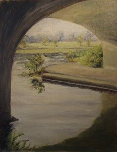 Glow under Bridge: June 2014, plein air, oil painting --from RachelSteely.com