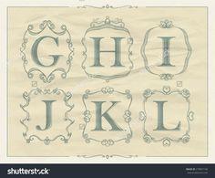 Vintage Calligraphic Letters In Monogram Retro Frames, Alphabet ...