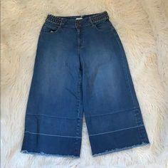 Olivia Palermo Jeans | Olivia Palermo Chelsea Wide Leg Crop Size 2 | Poshmark Denim Culottes, Olivia Palermo, Legs Open, Flare Jeans, Vintage Inspired, Wide Leg, Chelsea, Size 2, Polka Dots
