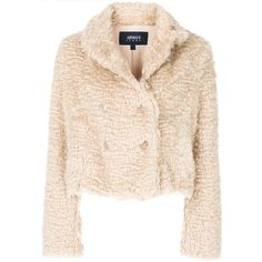 Armani Jeans cropped faux fur jacket ($366) ❤ liked on Polyvore featuring outerwear, jackets, pink faux fur jacket, pink jacket, cropped jacket, armani jeans and fake fur jacket