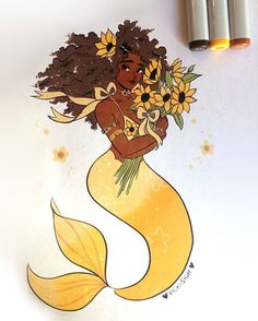 "7,797 Likes, 47 Comments - Vicki (@vickisigh) on Instagram: ""day 16 of #mermay ! sunflower goddess~copic and ink #artistsofinstagram"""