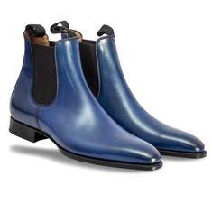 - Stylish Men's Handmade blue color Chelsea Leather Boots ,Men Ankle High Leather boots - High Ankle Boots, High Shoes, Shoe Boots, High Leather Boots, Leather Heels, Soft Leather, Calf Leather, Cowhide Leather, Mens Fashion Shoes