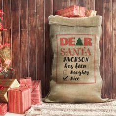 Dear Santa Personalised Hessian Sack