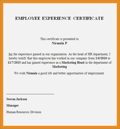 3 experience certificate sample in word format