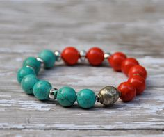 d25e3361f636 NEW Red and Turquoise Beaded Bracelet   Handmade Bracelets