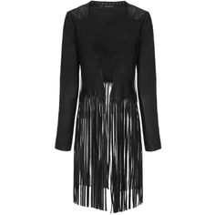 ThePerfext Black Leather Fringe Christy Jacket ($1,805) ❤ liked on Polyvore featuring outerwear, jackets, black, long leather jacket, long fringe jacket, black jacket, black fringe jacket and long sleeve jacket
