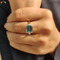 moissanite | moissanite ring | emerald moissanite ring | moissanite engagement ring | bezel set moissanite ring | solitaire engagement ring | moissanite jewelry | Modelling Photography, Custom Jewelry, Unique Jewelry, Moissanite Rings, Emerald, Turquoise, Gemstones, Engagement, Trending Outfits