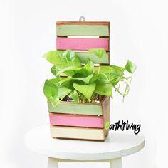 Wall hung hanging reclaimed wood plant flower pot planter vertical garden #HandmadebyEarthlyLiving