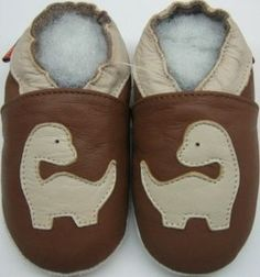 MiniShoeZoo soft sole leather baby boy shoes dinosaurs brown 18-24m