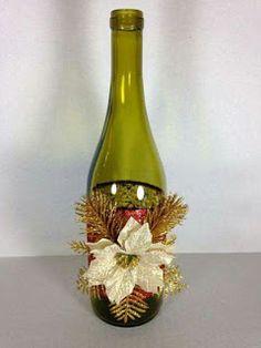 Aprende cómo decorar botellas de vidrio recicladas para navidad ~ cositasconmesh