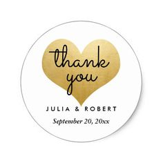 Modern Faux Gold Foil Heart Thank You Typography Classic Round Sticker