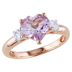 Rose de France and Created White Sapphire Heart Ring Pink Rhodium-Plated Sterling Silver Ring. This Gorgeous Rose de France And Created White Sapphire Heart Ring Will Be A Delightful Surprise Gift. Get Yours Today! Cute Jewelry, Jewelry Rings, Silver Jewelry, Silver Rings, Purple Rings, Purple Band, Heart Jewelry, Glass Jewelry, Gold Jewellery