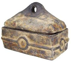 Ancient Roman Ossuary :    Ancient Roman Terracotta ossuary with a raised linear and circle border, the lid with a loop that serves as a handle. An ossuary is a receptacle such as an urn or vault to hold cremated ashes of the dead. Dark patina.  100 AD