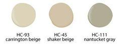 Home Stagine Tips & Ideas, Benjamin Moore Carrington Beige HC-93, Shaker Beige HC-45, Nantucket Gray HC-111