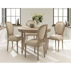 A fantastic new addition to our collection of French furniture from Dining Room Table Decor, Kitchen Dining Living, Table And Chairs, Dining Rooms, French Style Chairs, French Dining Chairs, White Round Dining Table, A Frame House, French Furniture