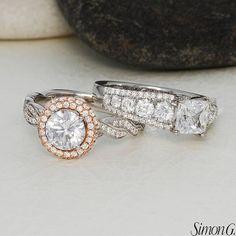 Dazzle from every angle.  Featured Styles: MR2133, MR2398  #simongjewelry #engagementring #diamond #jewelry #love #sparkle #beauty #wedding #heasked #shesaidyes #futuremrs #SimonG #arthursjewelers #minneapolis #minnesota