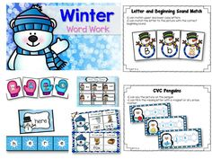 Kindergarten Winter Word Work - Includes EDITABLE sight word games, cvc word work, rhyming words, syllables, upper and lower case letter match, and beginning sounds.