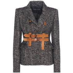 Tom Ford Tweed Jacket (93 835 UAH) ❤ liked on Polyvore featuring outerwear, jackets, blazers, coats, coats & jackets, black, wool tweed blazer, tweed blazer, tom ford blazer and tweed jackets