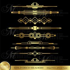 GOLD DECO HEADERS Clip Art Set by MNINEdesigns *Great for use on greeting cards, invitations, printable projects, party packs. paper craft, party