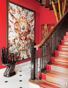 Sig Bergamin's Eclectic Home in Brazil:   There's no stopping the designer, who layers a kaleidoscope of great looks in his São Paulo house with artful abandon.  A  Caio Reisewitz C-print and a Pedro Friedeberg hand chair share the entrance hall.