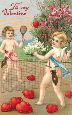 to the tennis court ~♡~ Valentines Weekend, Vintage Valentines, Tennis Posters, Tennis Serve, Tennis Photos, Valentine Cupid, Tennis Party, Novelty Birthday Cakes, Tennis Tips