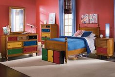 The Riley Pine Kids Furniture Collection | Furniture.com. Honey pine solids twin bed with tongue-and-groove detailed headboard.