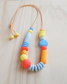 Handmade, Textured, Fancy Necklace - Canary, Duck Egg, Perriwinkle, Pumpkin & Tangerine