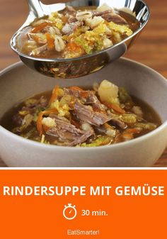 Rindersuppe mit Gemüse Beef soup with vegetables - smarter - time: 30 min. Beef Soup Recipes, Ground Beef Recipes Easy, Hamburger Meat Recipes, Sausage Recipes, Vegetarian Recipes, Dinner Recipes, Easy Lasagna Recipe With Ricotta, Classic Lasagna Recipe, Best Lasagna Recipe