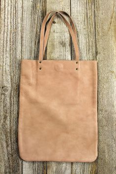 Leather Tote Bag in Peach – Spotted Moth