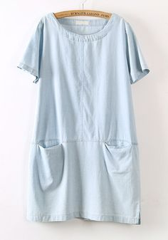 Light Blue Pockets Short Sleeve Loose Denim Dress