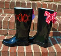 Monogrammed Rain Bootspersonalized with Vinyl by itsadaisy on Etsy, $45.00
