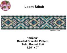 Zircon Loom Beaded Bracelet Pattern Round Beads by TinkersDrift