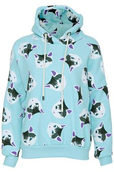 ROMWE | ROMWE Cats Print Long-sleeved Mint Blue Hoodie, The Latest Street Fashion