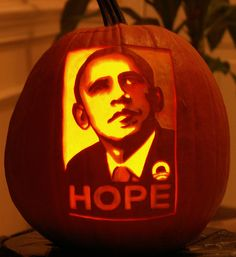 Pumpkin Carving: Obama Hope - I dropped this off at the local election office instead of putting it in my yard.