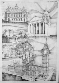 of Classicism, Romanticism, Eclecticism and Steel Architecture. The History of Architecture in Drawings. By Vlad BucurHistory of Classicism, Romanticism, Eclecticism and Steel Architecture. The History of Architecture in Drawings. By Vlad Bucur Renaissance Architecture, Classical Architecture, Historical Architecture, Architecture Design, Building Sketch, Building Design, Architecture Drawing Sketchbooks, Architect Drawing, Unusual Buildings