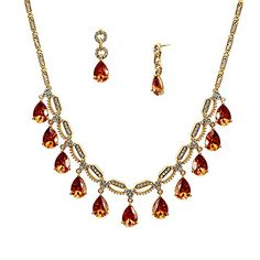 Lia Newyork Brown Cubic Zirconia Gold Necklace and Earring Set Special Occasion Jewelry Set S01438GT ** Check this awesome product by going to the link at the image.