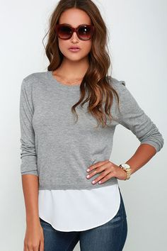 Made My Day Grey Sweater Top