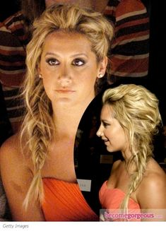 side fishtail braid paired with sexy, tousled texture. To do, work with day-old hair, spray roots with dry shampoo and tease gently to give roots extra volume. Braid hair with the fishtail technique, secure ends and pull ends free for extra flair. Messy Fishtail Braids, Fishtail Braid Hairstyles, My Hairstyle, Pretty Hairstyles, French Fishtail, Rope Braid, Braided Updo, Braided Pigtails, Fishbone Braid