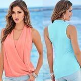 Lady Summer Vest Top Sleeveless V Neck Chiffon Casual Tank Top – SilkRoads Online