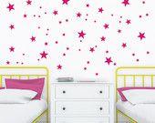 Vinilos de estrellitas rosas. Decoración con estrellas fucsia.Pegatinas de estrellas rosas para decoración cuarto de bebes y niñas.