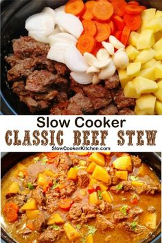 10-Minute, quick and tasty beef stew recipe for a slow cooker! With slow cooker, skillet-cooked, pressure cooker, Tasty Beef Stew Recipe, Crockpot Recipes, Classic Beef Stew, Celiac Disease, Slow Cooker Beef, International Recipes, Freezer Meals, Crock Pot, Meal Planning