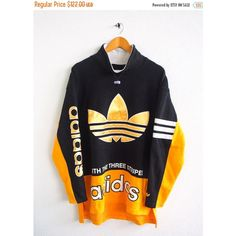 BIG SALE 25% Vintage 80's ADIDAS Big Logo Gold Trefoil Sportswear... (£70) ❤ liked on Polyvore featuring tops, checkered top, crew top, 80s tops, colorful tops and adidas pullover