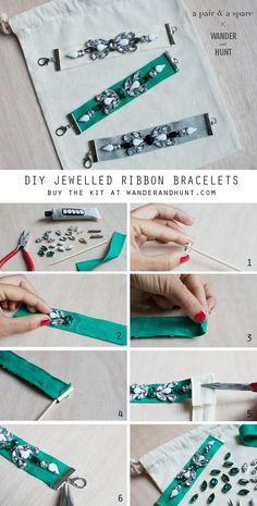 Purchase the kit here.  Kit Supplies (each kit comes with enough to make three bracelets): Cotton ribbon Rhinestones...
