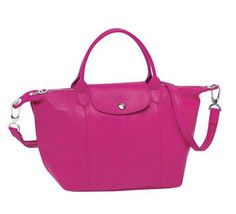 LONGCHAMP PLIAGE CUIR LEATHER in CYCLAMEN. Sucha LUST item! <3