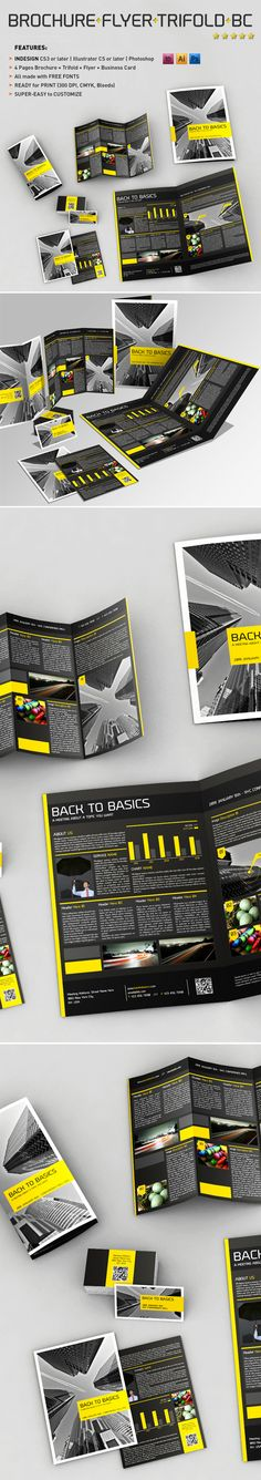4 Pages Brochure + Flyer + Trifold + Business Card by Andrea Balzano, via Behance